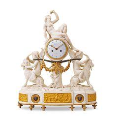 A LOUIS XVI LATE 18TH CENTURY BISQUE PORCELAIN MANTEL CLOCK.