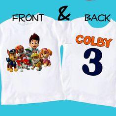 NEW Paw Patrol any name age Birthday tshirt shirt by maryahdesigns, $15.00