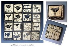 Sgraffito Hand Carved Tiles (When designing stamps, remember to carve the lettering backwards. Clay Tiles, Ceramic Clay, Ceramic Pottery, Pottery Art, Ceramic Techniques, Pottery Techniques, Cerámica Ideas, Creta, Pottery Designs