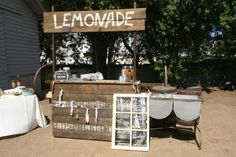 old fashioned lemonade stand, old metal wash basin, old window for drink menu