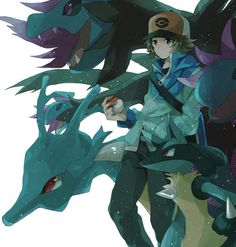Hydreigon, Kingdra, Lucario and Hilbert