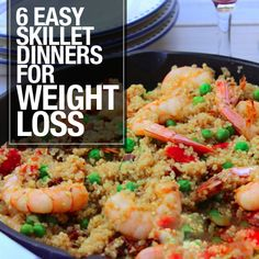 6 Easy Skillet Dinners for Weight Loss - your whole family will love these!  #skilletdinners #weightloss