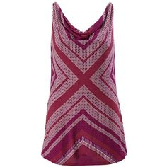 Printed Drape Tank cabi via Polyvore featuring tops, print top, pattern tops, pattern tank top, drape top and wrap top