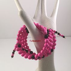Hot Pink Black Beaded Bracelet, Gift for Her, Southwest, Western, Native American, Tribal, Natural Stone, Bohemian, Cowgirl