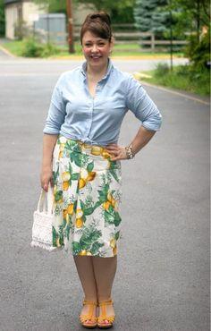 afc0ff1cf5 Friday - When Life Gives You Lemons | Wardrobe Oxygen. Lands End Canvas  oxford, Talbots skirt, vintage bag ...