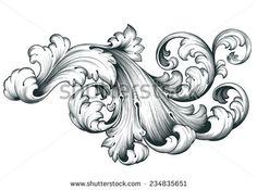 vintage baroque engraving floral scroll filigree design frame border acanthus pattern element