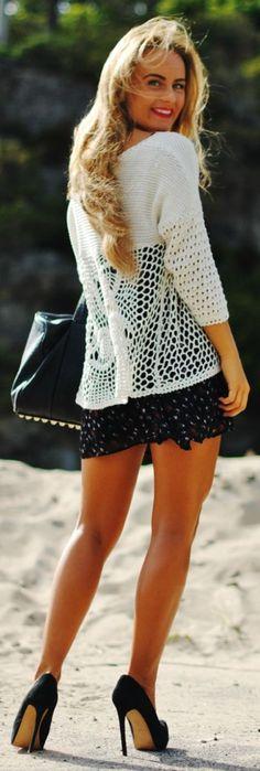 Vero Moda White Rosette Back Knit Open Weave Bottom Cardigan