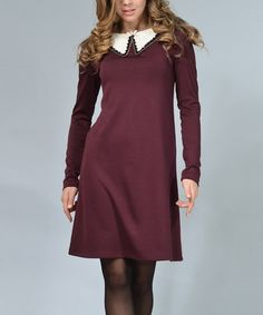 Look at this #zulilyfind! Dark Vinous Embellished-Collar Shift Dress #zulilyfinds
