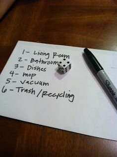 Turn it into a game for the kids~  The dice decides which chore you get.