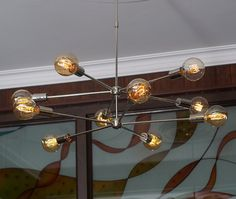 Modern Brass 10 arms Sputnik chandelier / Chromed von bluesky3786