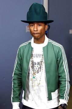 The Adidas Jacket on Wantering - Pharrell in a green Adidas jacket.