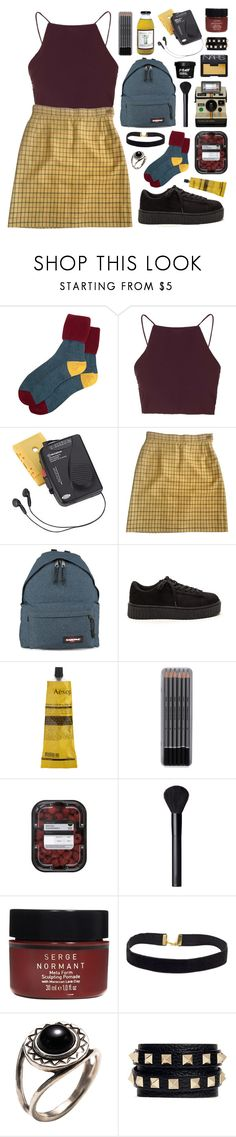 """""""//check//"""" by bananafrog ❤ liked on Polyvore featuring Topshop, Westinghouse, Vivienne Westwood, Eastpak, Aesop, NARS Cosmetics, Serge Normant, Pamela Love and Valentino"""