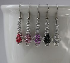 Tiny Chainmaille Japanese Cross Earrings,