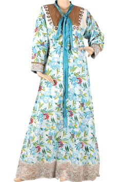 aljalabiya.com: 'Vega' Cotton patterned kaftan with neck accessories (N-13077-11)  $79.00
