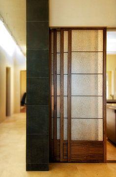 shoji sliding doors for the closets. Japanese Sliding Doors, Japanese Door, Bedroom Divider, Room Divider Doors, Living Room Partition, Room Partition Designs, Contemporary Interior Doors, Interior Barn Doors, Japanese Room Divider