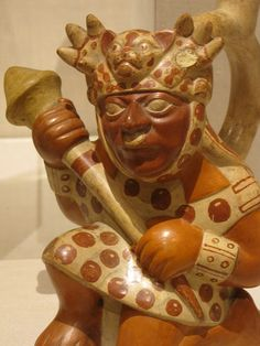 Vessel in the Form of a Warrior, ceramic and pigment, 100 BCE/500 CE, Moche; Chimbote, Santa Valley, north coast, Peru