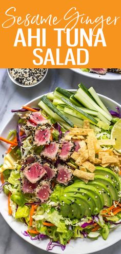 This Ahi Tuna Salad is a colorful, vibrant dish served with seared tuna steaks, sliced avocado, crunchy wontons and a sushi-style sesame ginger dressing Seared Tuna Steak Recipe, Seared Tuna Salad, Tuna Steak Recipes, Grilled Tuna, Salad Recipes, Tuna Steaks, Fresh Tuna Recipes, Avocado Tuna Salad, Gourmet