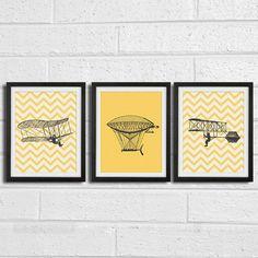 Boys airplane nursery art - chevron vintage airplanes -  Art Print Set of 3 8x10 Print. $30.00, via Etsy.