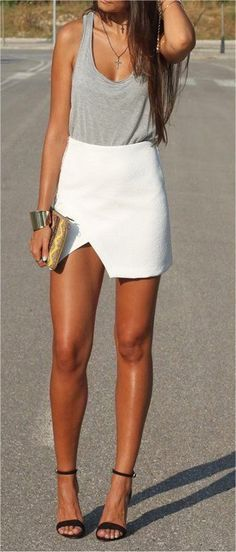 Gray casual tank, white pencil skirt, black strappy heels