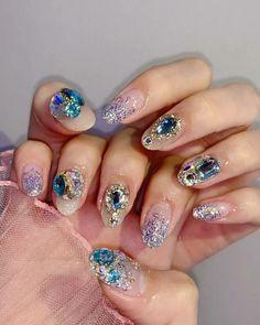 """ถูกใจ 1,658 คน, ความคิดเห็น 11 รายการ - nailbox 원장 1:1관리 ✌🏻 (@nailbox__92) บน Instagram: """"요즘 많이하시는 스타일임당ㅎㅎㅎㅎㅎㅎ . . . . ."""" Gem Nails, Hair And Nails, Cute Nails, Pretty Nails, Korean Nails, Nail Art Pictures, Blue Nail Polish, Best Acrylic Nails, Nail Accessories"""