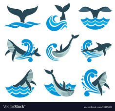 Wild whale in sea waves and water splashes vector icons. Animal wildlife whale in blue sea, illustration of marine animal Creative Logo, Water Splash Vector, Meer Illustration, Painted Ukulele, Water Icon, Whale Tattoos, Sea Waves, Silhouette Vector, Stickers