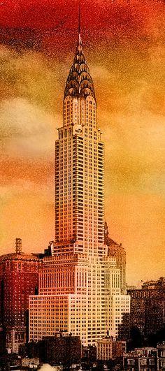 Vintage Chrysler Building Artist: Andrew Fare New York City, NYC