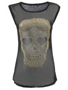 Black Skull Jewel Top