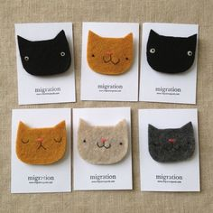 stiff felt cat head brooches with embroidery Fabric Brooch, Felt Brooch, Felt Fabric, Applique Fabric, Diy For Kids, Crafts For Kids, Sewing Crafts, Sewing Projects, Needle Felted Cat