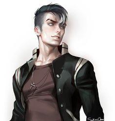 Anime-guy-black-white-hair