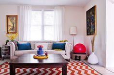 Sofa, lamp, cushion shape.