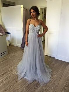 spaghetti sweetheart gray tulle dresses with beading, A-line Grey Spaghetti Straps Floor-length Prom Dress with Beading