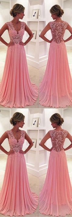 V-Neck Court Train Pink Prom Dress/Evening Dress PG 239 #prom #dress #evening #party #chiffon #pgmdress #fashion #longprom #eveningdress #promdress