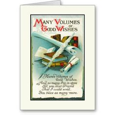 "This vintage-style card shows stacks of books with a quill pen and a poem for ""volumes of good wishes"" along with a get well soon sentiment. It's sure to please an avid reader or book club members. You can change the inside message. Card Design © Good Things By Gorge. Card Design © Good Things By Gorge"