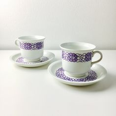 Rare vintage Arabia Finland ceramic coffee cup and saucer with purple flowers, 1970s - Made in Finland