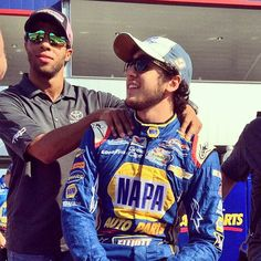 Chase and Darrel Wallace Jr. messin around before the Charlotte race
