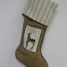 Embroidered Reindeer Stocking