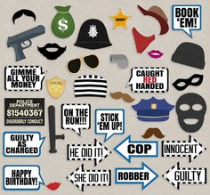 35 Cops and Robbers Party Props, Police party theme photo booth props, mugshot sign printable, polic Cop Party, Party Props, Party Themes, Party Hats, Party Ideas, 6th Birthday Parties, Boy Birthday, Police Retirement Party, Police Party Theme