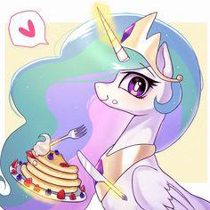 Celestia loves pancakes and i don't blame her! My Little Pony Princess, Mlp My Little Pony, My Little Pony Friendship, Flame Princess, My Little Pony Fondos, Imagenes My Little Pony, Princesa Celestia, Celestia And Luna, Mlp Unicorn