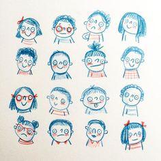 Little Faces © Linzie Hunter #Sketchbook #doodle #drawing