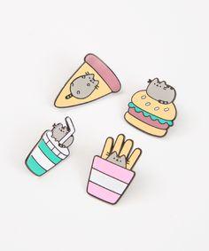 Pusheen Fast Food metal pin set