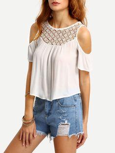 33dc1daafa244 Crochet Neck Open Shoulder Blouse -SheIn(Sheinside) White Cold Shoulder Top