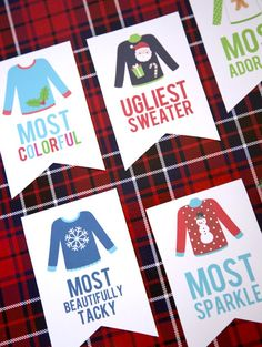 Here's an epic list of 21 ugly sweater Christmas party ideas you won't want to miss! If an ugly sweater Christmas party is part of your holiday plans this year, take note. From ugly sweater Tacky Christmas Party, Christmas Games, Xmas Party, Christmas Activities, Family Christmas, Holiday Fun, Christmas Holidays, Christmas Ideas, Holiday Parties