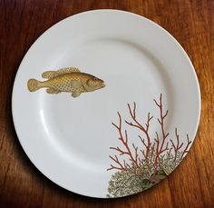 "assiette porcelaine ""fishy fish"" - Coraline"