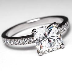Tiffany Novo Engagement Ring w/ 2 Carat Cushion Cut  Diamond in Platinum