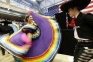 Flamenco dancers perform at a Democrat campaign rally in San Antonio.  (Photo by Eric Gay / AP).  First published in the October 26, 2012, 7:34 a.m. edition (http://dailysource.org/pictures/show/42075).