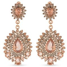 Carolee Rose Gold Rose Gold-Tone Pocket Park Teardrop Chandelier Clip... (510 BOB) ❤ liked on Polyvore featuring jewelry, earrings, rose gold, tear drop earrings, rose earrings, sparkly earrings, clip earrings and chandelier earrings