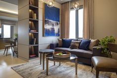 Here's an Interior Design of a Condominium Unit. Neutral and gold accent colors for a relaxing but luxurious feel of the space. Empire Design, Residential Interior Design, Condominium, Accent Colors, Neutral, Couch, Interiors, Space, Luxury
