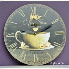 "Horloge vintage ""hello coffee shop""."