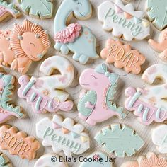 Farm Cookies, Cookies For Kids, Second Birthday Ideas, Third Birthday Girl, Sugar Cookie Cakes, Royal Icing Cookies, Mickey Mouse Party Favors, Dinosaur Cookies, Cute Desserts