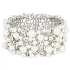 Bracelet manchette de mariée Cascade de perles